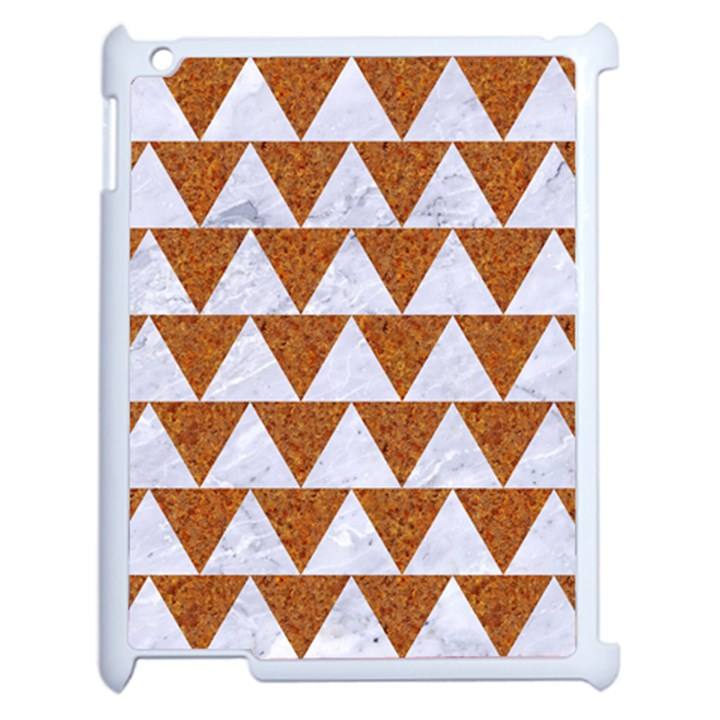 TRIANGLE2 WHITE MARBLE & RUSTED METAL Apple iPad 2 Case (White)