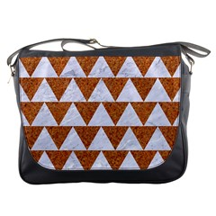TRIANGLE2 WHITE MARBLE & RUSTED METAL Messenger Bags