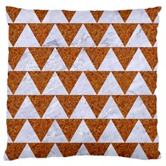 TRIANGLE2 WHITE MARBLE & RUSTED METAL Large Cushion Case (Two Sides)