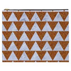 TRIANGLE2 WHITE MARBLE & RUSTED METAL Cosmetic Bag (XXXL)