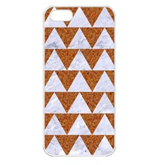 TRIANGLE2 WHITE MARBLE & RUSTED METAL Apple iPhone 5 Seamless Case (White)