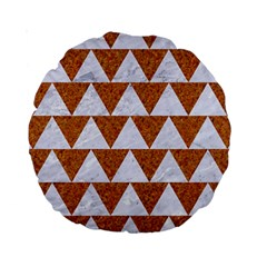 Triangle2 White Marble & Rusted Metal Standard 15  Premium Round Cushions