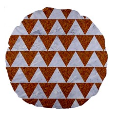 Triangle2 White Marble & Rusted Metal Large 18  Premium Round Cushions