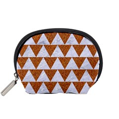 TRIANGLE2 WHITE MARBLE & RUSTED METAL Accessory Pouches (Small)