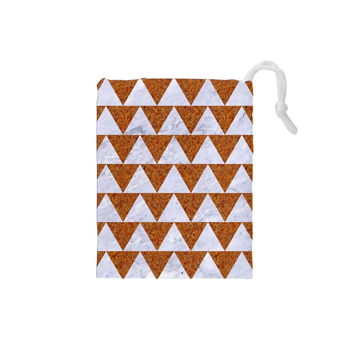 TRIANGLE2 WHITE MARBLE & RUSTED METAL Drawstring Pouches (Small)