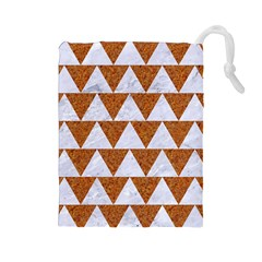 TRIANGLE2 WHITE MARBLE & RUSTED METAL Drawstring Pouches (Large)
