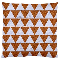 TRIANGLE2 WHITE MARBLE & RUSTED METAL Large Flano Cushion Case (Two Sides)