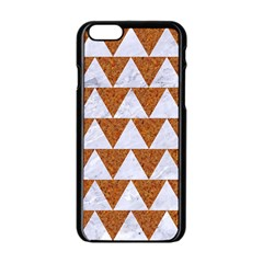 TRIANGLE2 WHITE MARBLE & RUSTED METAL Apple iPhone 6/6S Black Enamel Case