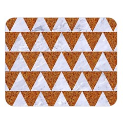 Triangle2 White Marble & Rusted Metal Double Sided Flano Blanket (large)