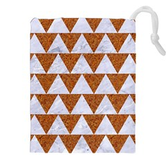TRIANGLE2 WHITE MARBLE & RUSTED METAL Drawstring Pouches (XXL)