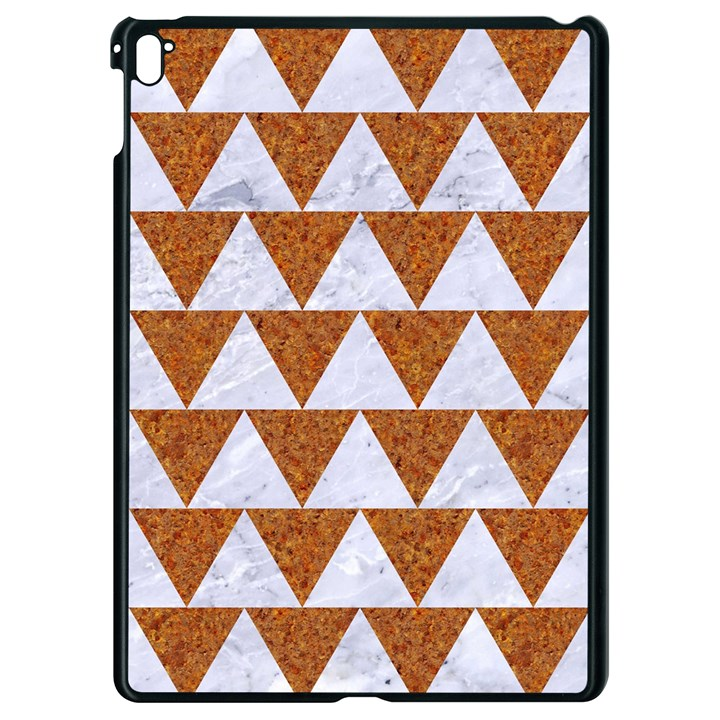 TRIANGLE2 WHITE MARBLE & RUSTED METAL Apple iPad Pro 9.7   Black Seamless Case