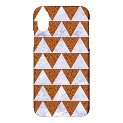 Triangle2 White Marble & Rusted Metal Apple Iphone X Hardshell Case