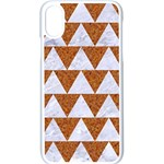 TRIANGLE2 WHITE MARBLE & RUSTED METAL Apple iPhone X Seamless Case (White) Front
