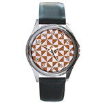 TRIANGLE1 WHITE MARBLE & RUSTED METAL Round Metal Watch