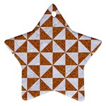 TRIANGLE1 WHITE MARBLE & RUSTED METAL Ornament (Star) Front