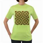 TRIANGLE1 WHITE MARBLE & RUSTED METAL Women s Green T-Shirt
