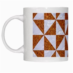 Triangle1 White Marble & Rusted Metal White Mugs by trendistuff