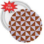 TRIANGLE1 WHITE MARBLE & RUSTED METAL 3  Buttons (10 pack)  Front