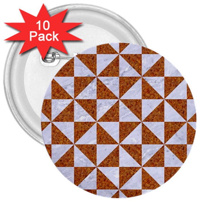 TRIANGLE1 WHITE MARBLE & RUSTED METAL 3  Buttons (10 pack)