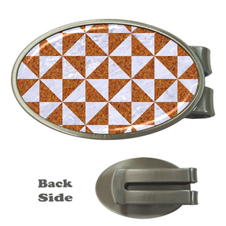 TRIANGLE1 WHITE MARBLE & RUSTED METAL Money Clips (Oval)
