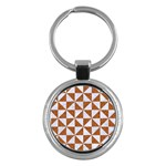 TRIANGLE1 WHITE MARBLE & RUSTED METAL Key Chains (Round)