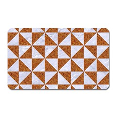 Triangle1 White Marble & Rusted Metal Magnet (rectangular)