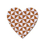 TRIANGLE1 WHITE MARBLE & RUSTED METAL Heart Magnet