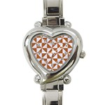 TRIANGLE1 WHITE MARBLE & RUSTED METAL Heart Italian Charm Watch Front