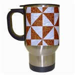 TRIANGLE1 WHITE MARBLE & RUSTED METAL Travel Mugs (White) Left