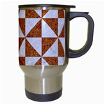 TRIANGLE1 WHITE MARBLE & RUSTED METAL Travel Mugs (White) Right