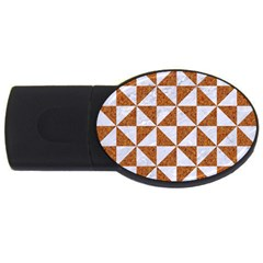 TRIANGLE1 WHITE MARBLE & RUSTED METAL USB Flash Drive Oval (4 GB)