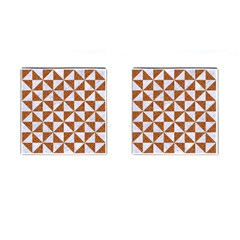 Triangle1 White Marble & Rusted Metal Cufflinks (square)