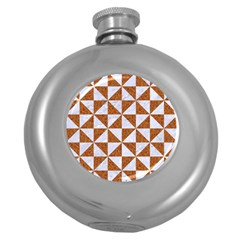 Triangle1 White Marble & Rusted Metal Round Hip Flask (5 Oz)