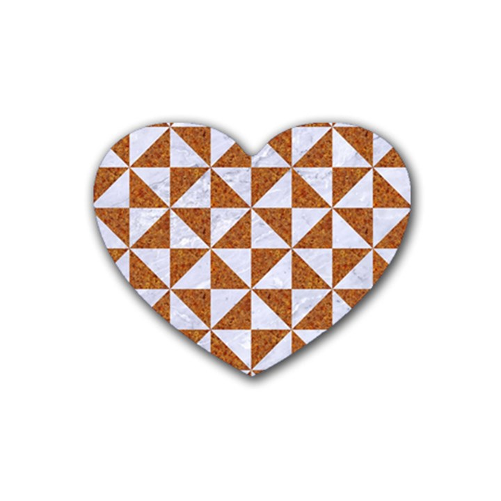 TRIANGLE1 WHITE MARBLE & RUSTED METAL Heart Coaster (4 pack)
