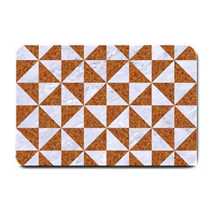 Triangle1 White Marble & Rusted Metal Small Doormat