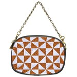 TRIANGLE1 WHITE MARBLE & RUSTED METAL Chain Purses (One Side)  Front