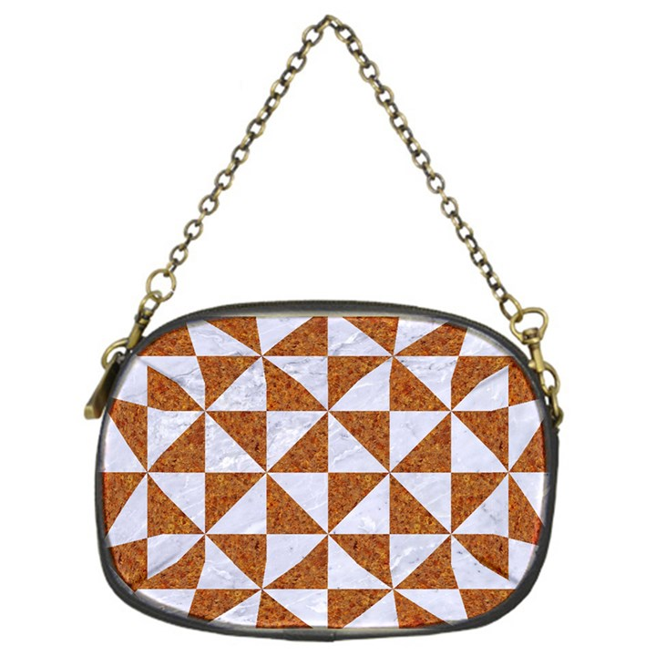 TRIANGLE1 WHITE MARBLE & RUSTED METAL Chain Purses (One Side)