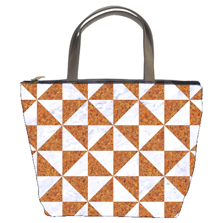 TRIANGLE1 WHITE MARBLE & RUSTED METAL Bucket Bags