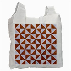 TRIANGLE1 WHITE MARBLE & RUSTED METAL Recycle Bag (Two Side)