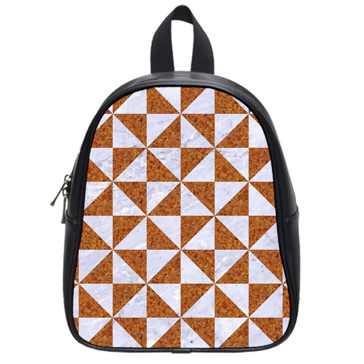TRIANGLE1 WHITE MARBLE & RUSTED METAL School Bag (Small)
