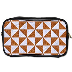 TRIANGLE1 WHITE MARBLE & RUSTED METAL Toiletries Bags 2-Side