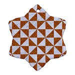 TRIANGLE1 WHITE MARBLE & RUSTED METAL Snowflake Ornament (Two Sides) Back