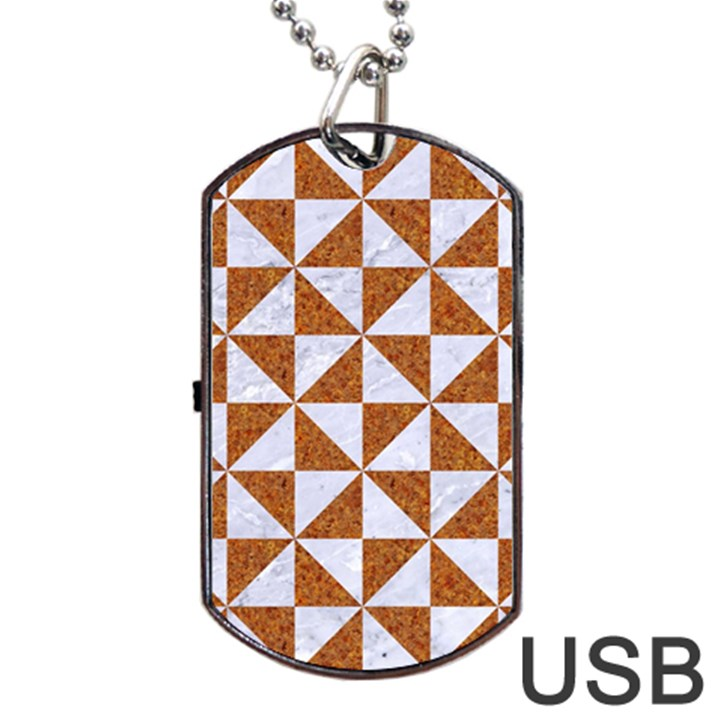 TRIANGLE1 WHITE MARBLE & RUSTED METAL Dog Tag USB Flash (One Side)