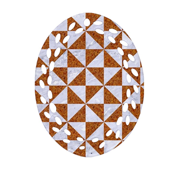 TRIANGLE1 WHITE MARBLE & RUSTED METAL Ornament (Oval Filigree)