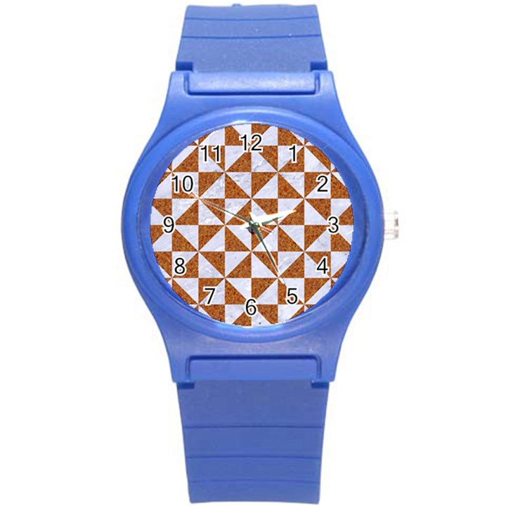 TRIANGLE1 WHITE MARBLE & RUSTED METAL Round Plastic Sport Watch (S)