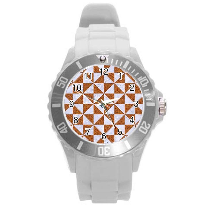 TRIANGLE1 WHITE MARBLE & RUSTED METAL Round Plastic Sport Watch (L)