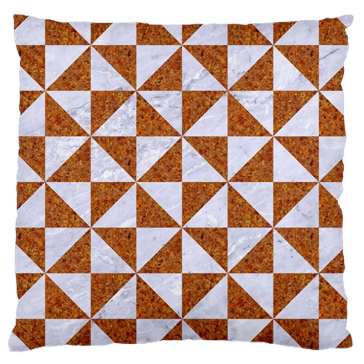 TRIANGLE1 WHITE MARBLE & RUSTED METAL Large Cushion Case (Two Sides)