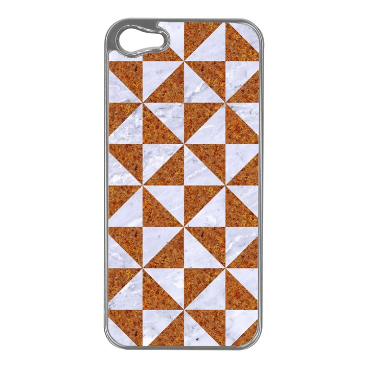 TRIANGLE1 WHITE MARBLE & RUSTED METAL Apple iPhone 5 Case (Silver)