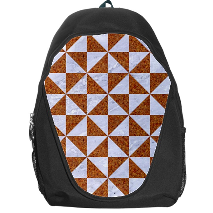 TRIANGLE1 WHITE MARBLE & RUSTED METAL Backpack Bag