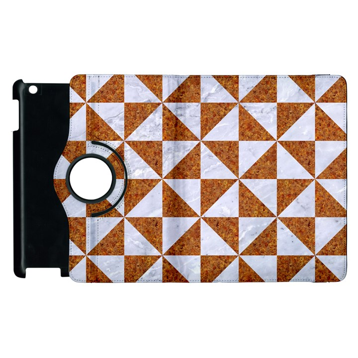 TRIANGLE1 WHITE MARBLE & RUSTED METAL Apple iPad 3/4 Flip 360 Case